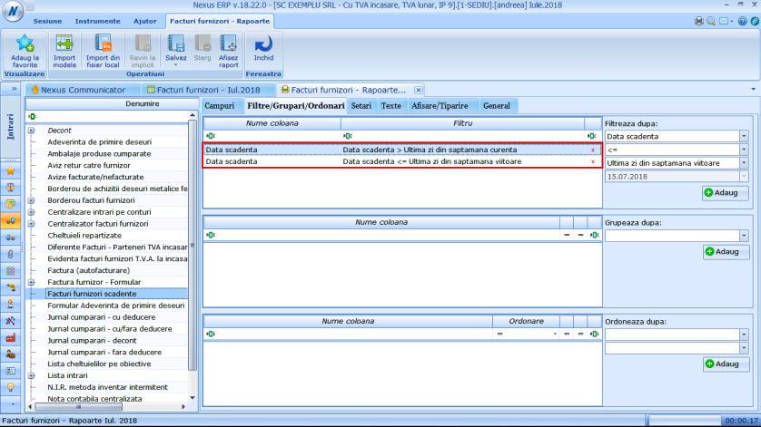 Filtrare rapoarte complexa dupa data 04