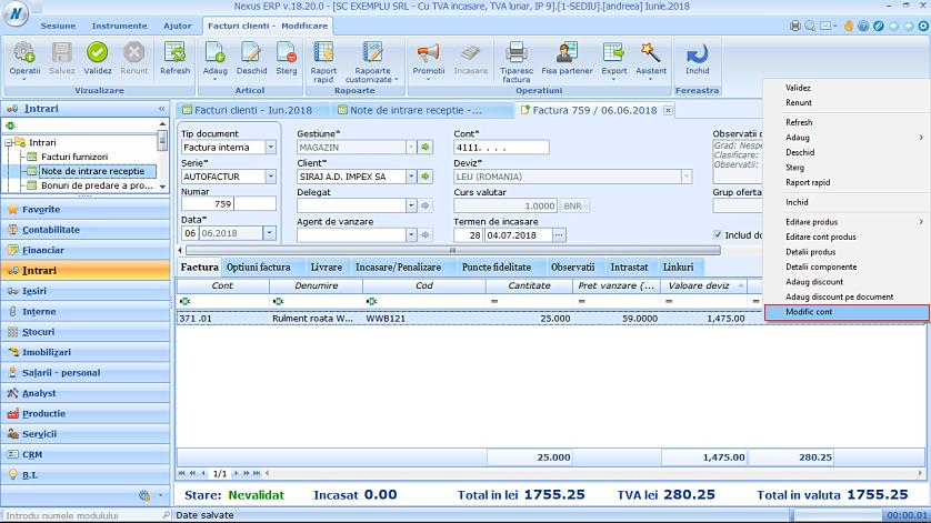 Modificare cont produs factura client 01