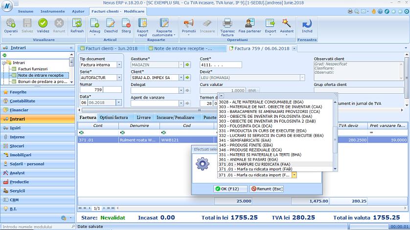 Modificare cont produs factura client 02