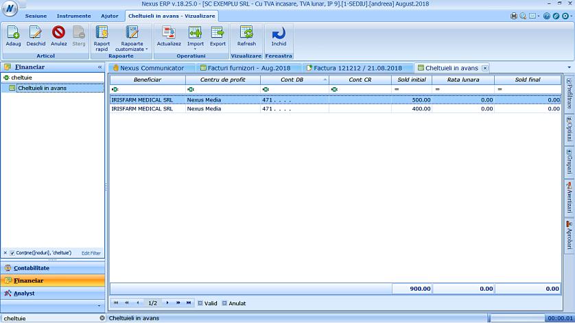 Modalitate generare documente cheltuieli in avans 03