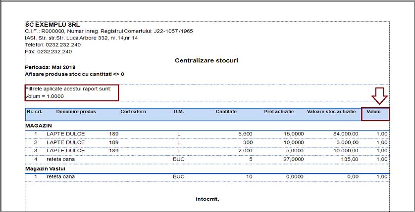 Centralizare stocuri Adaugare camp raport 01