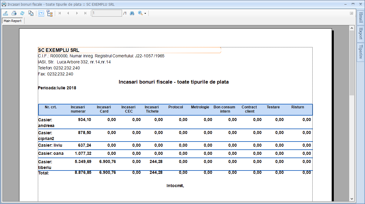Bonuri fiscale Raport Incasari bonuri fiscale toate Grupare casier 02