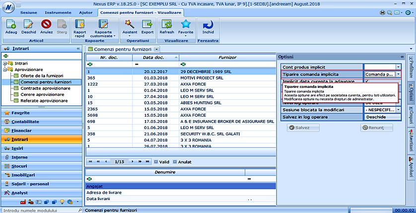 comenzi furnizori setare tiparire comanda implicita