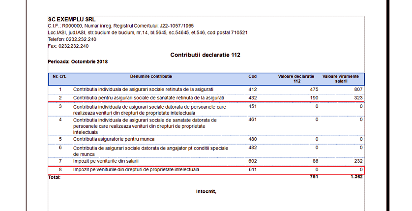 declaratia 112 raport contributii 112