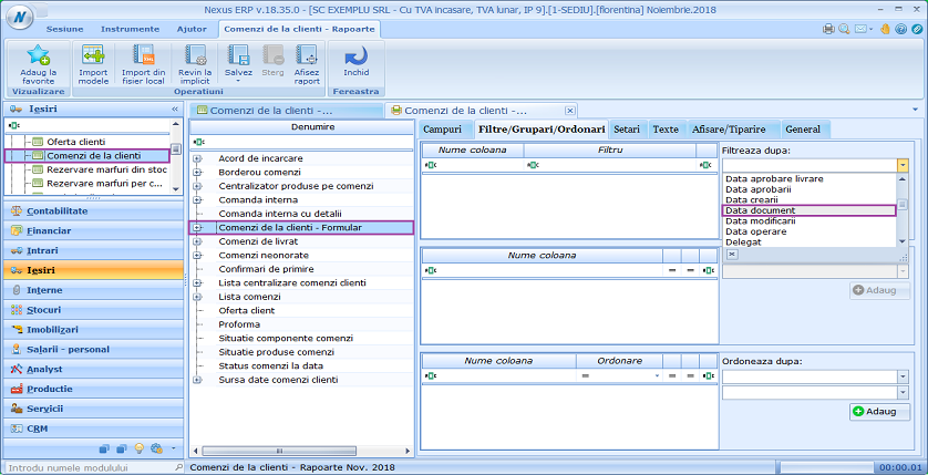 Comenzi de la clienti data document filtrare 01