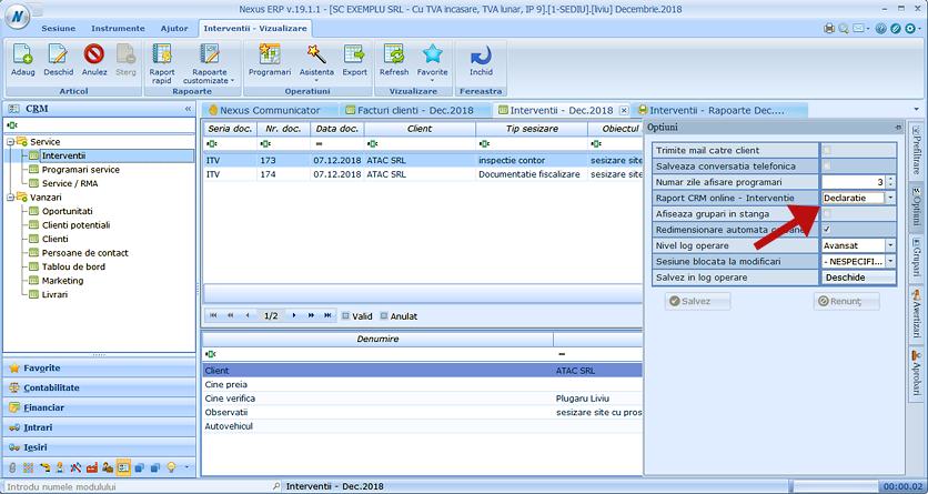 CRM Online raport interventie 1