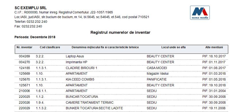 Registrul numerelor de inventar 2