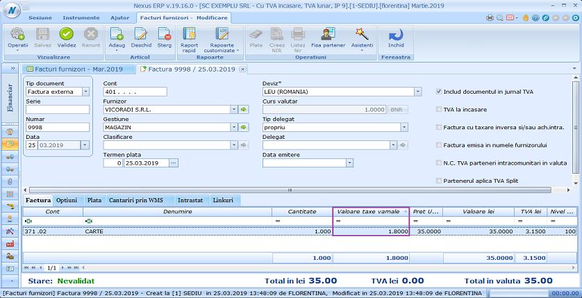 Facturi furnizori importex val taxa vamala 02