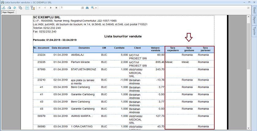 Facturi clienti Adaugare campuri raport 04
