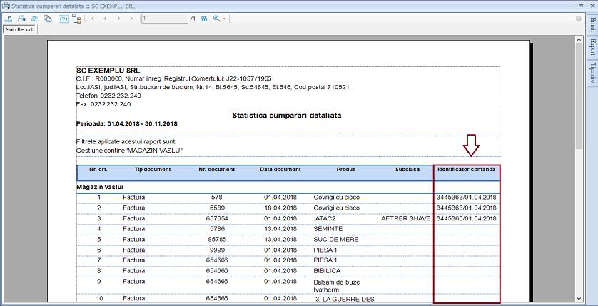 Statistica produse cumparate Adaugare camp raport 02
