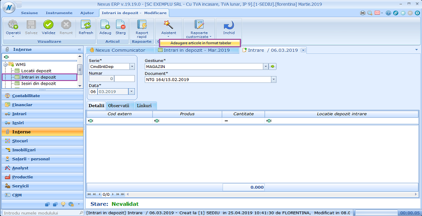 Intrari in depozit adaugare articole in format tabelar 01