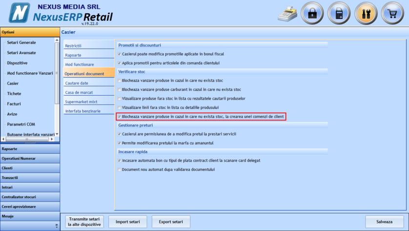 Setare verificare stoc produs comanda client 01