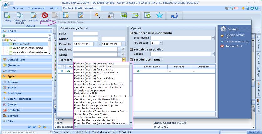 Facturi clienti asistent tiparire facturi tip raport 01