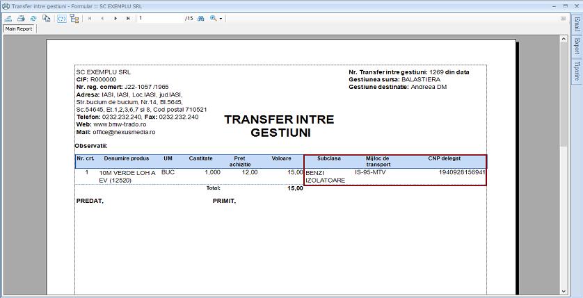 Transfer intre gestiuni Adaugare campuri raport 02