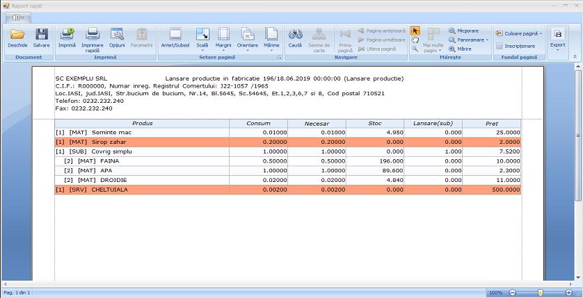 Lansare productie fereastra adaugare articol raport rapid 02