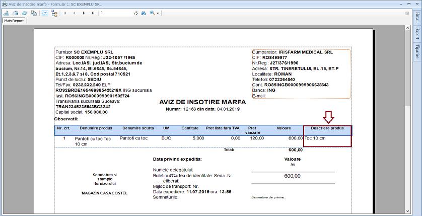 Avize de insotire marfa Adaugare camp raport 02