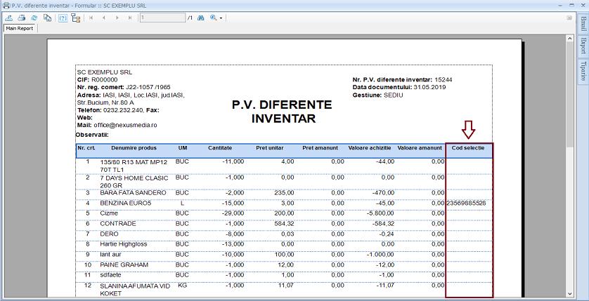 PV diferente inventar Adaugare camp raport 02