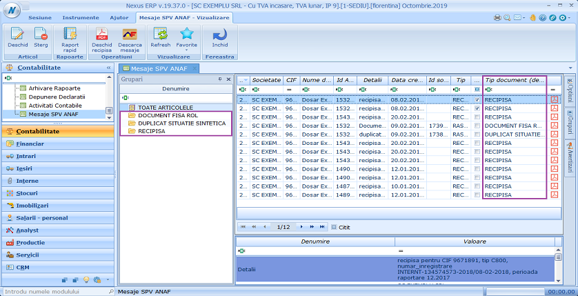 Mesaje SPV ANAF tip document detalii 03