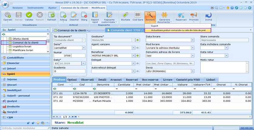 Comenzi de la clienti actualizare preturi comanda cu cele din lista de pret buton 01