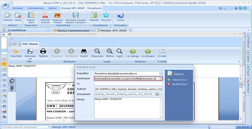 Mesaje SPVANAF Modificare trimitere mail 01