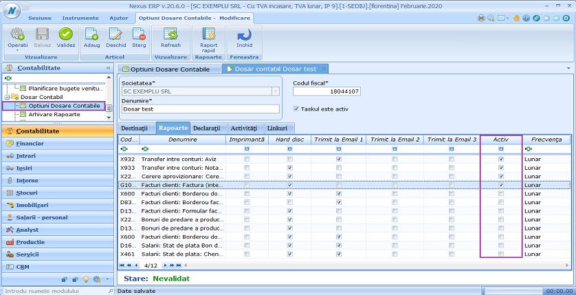 Optiuni dosare contabile activ rapoarte 01