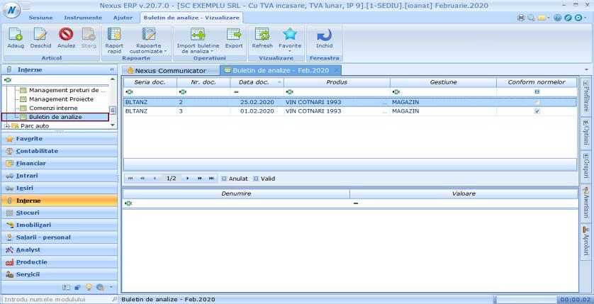 Buletin de analize Adaugare modul 01