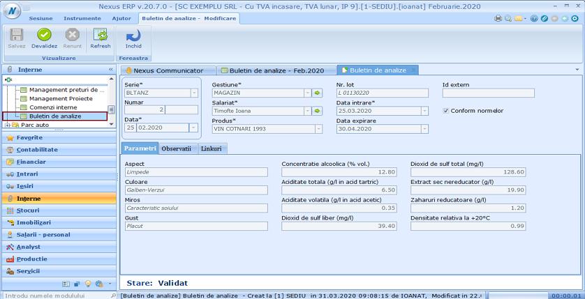 Buletin de analize Adaugare modul 02