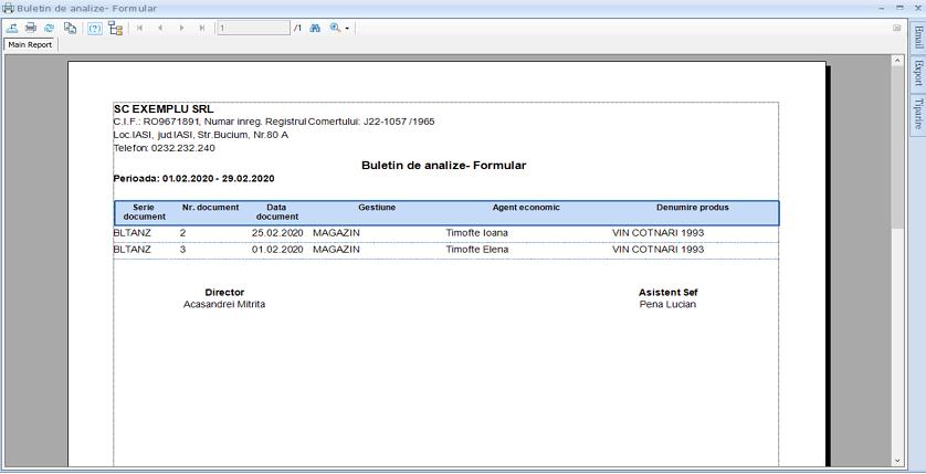 Buletin de analize Adaugare modul 03