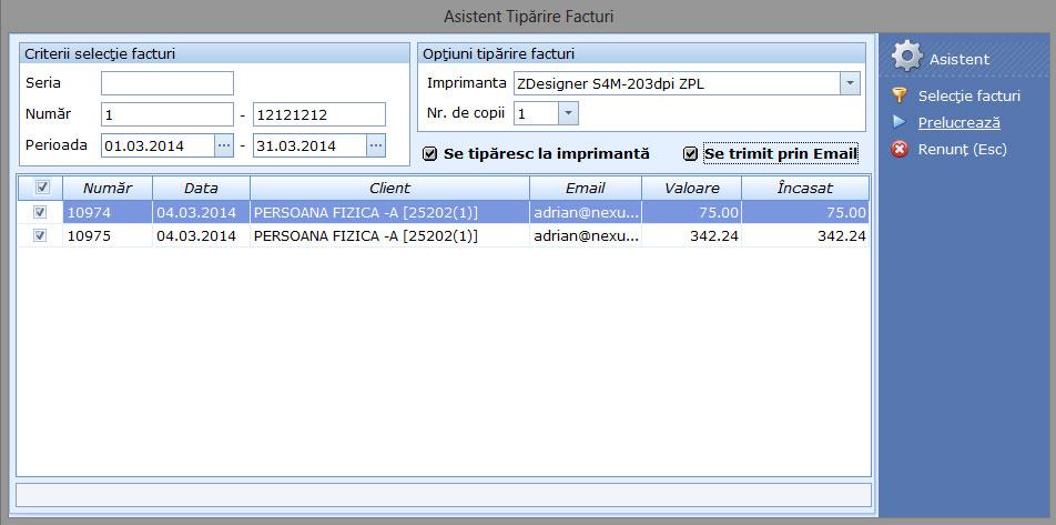 Tiparire si transmitere pe email a facturilor de clienti in bloc