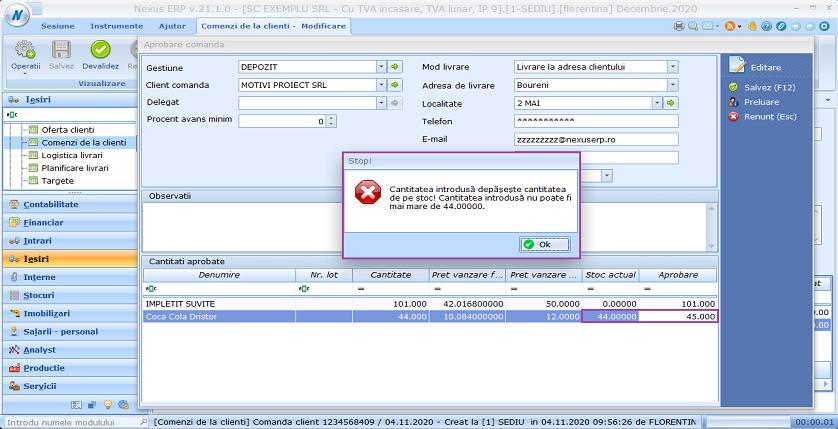 Comenzi de la clienti optiune mod calc automat cant aprob implementare 02