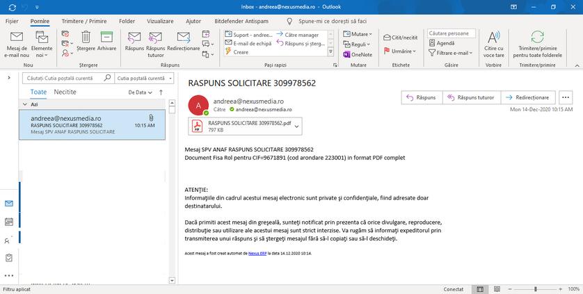Trimitere document pe mail mesaje spv 04