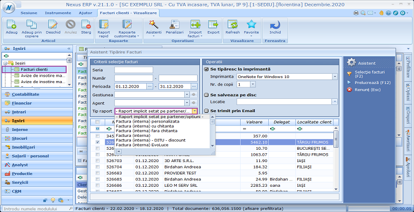 Facturi clienti tiparire in bloc facturi combo implicit 01