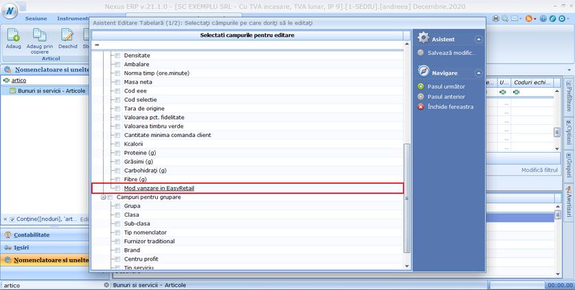 Editare tabelara mod vanzare easy retail 03