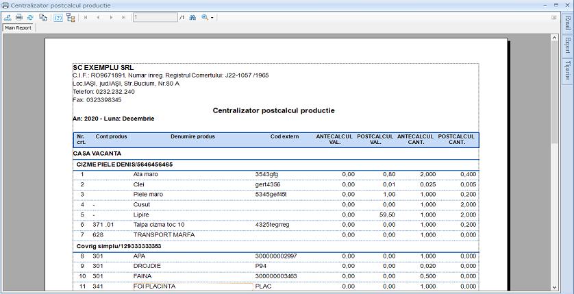 Postacalcul productie raport centralizator 01