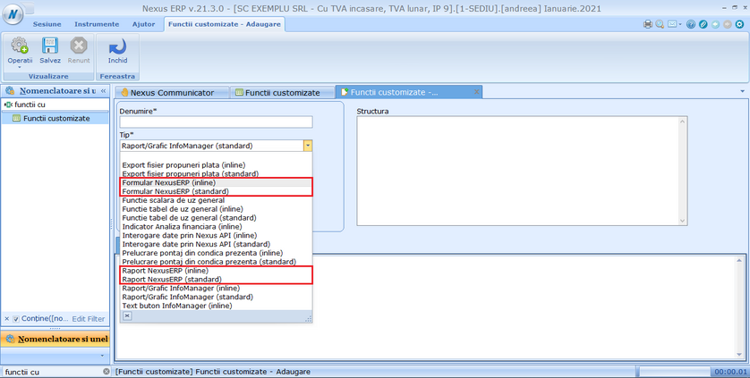 Creare rapoarte din functii customizate 01