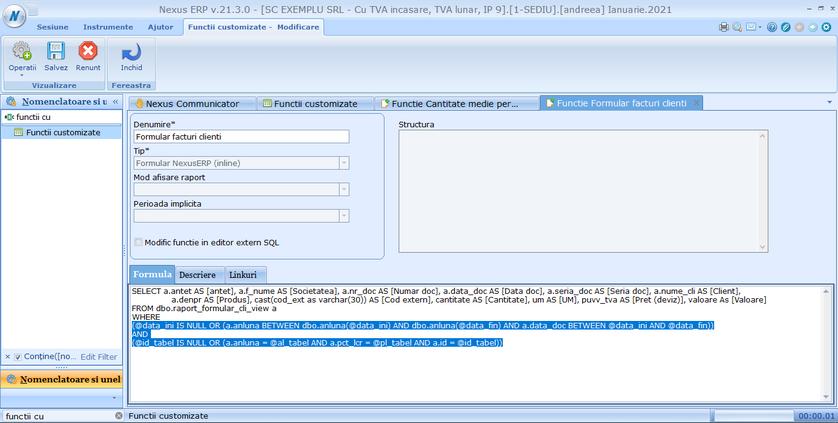 Creare rapoarte din functii customizate 02
