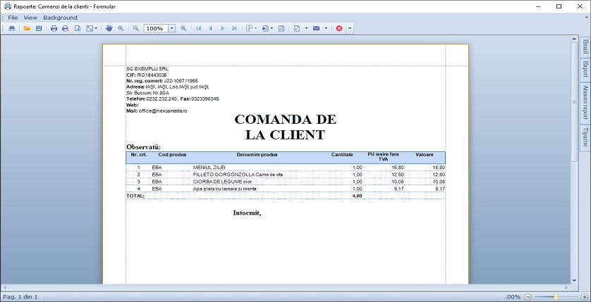 Comenzi clienti Listare document spre aprobare 03