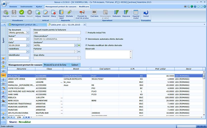 Modificare pret lista tinand cont de filtre 02