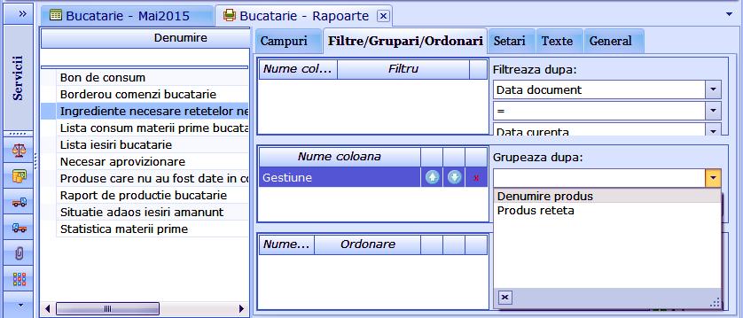 Bucatarie Grupare raport Ingrediente necesare retetelor nedescarcate