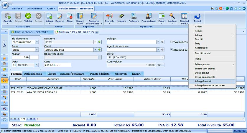 Adaugare discount pe factura client 02