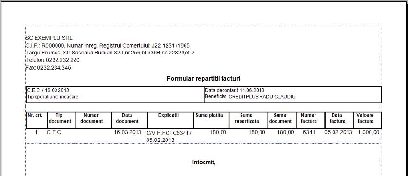 Formular repartitii facturi coloana suplimentara
