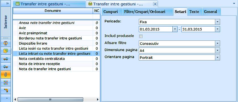 Transfer intre gestiuni Lista intrari cu note intrari intre gestiuni