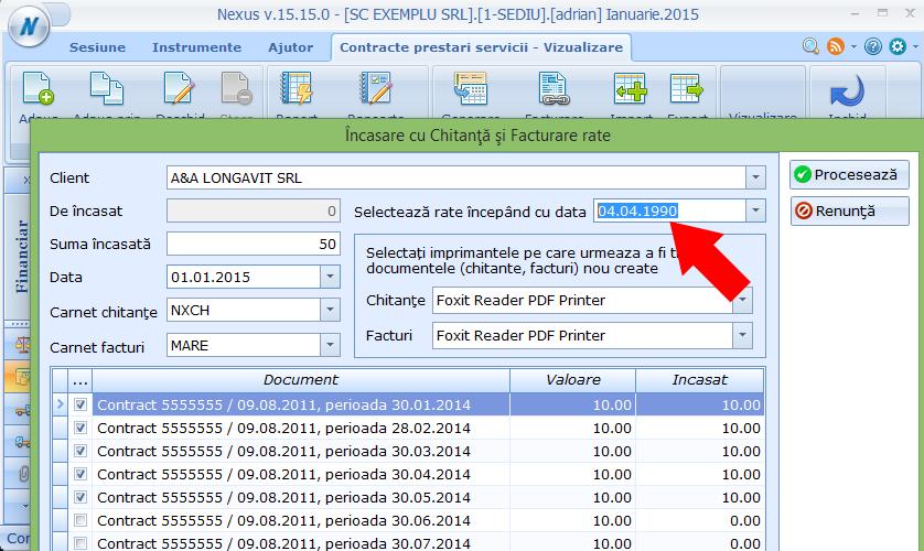 contracte prestari servicii filtrare dupa data a ratelor de facturat si incasat