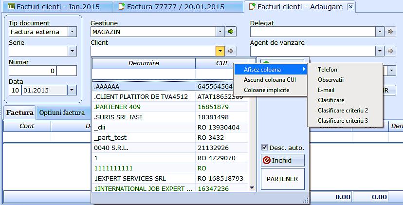 Customizare fereastra vizualizare nomenclatoare 01