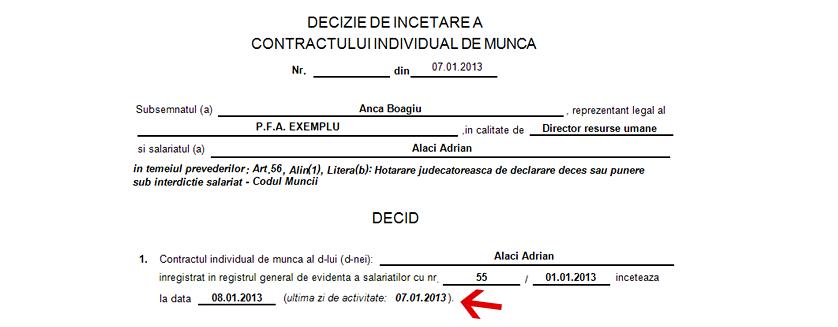 decizie incetare contract de munca