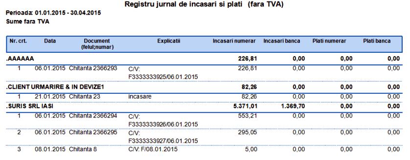 Casa in lei Registru jurnal de incasari si plati(fara TVA) Grupare Partener