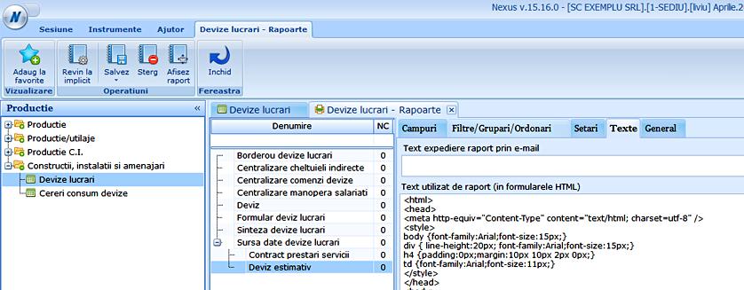 deviz lucrari raport html