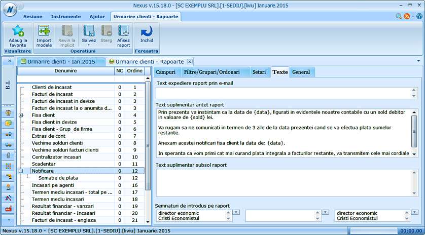 Notificare client configurare text personalizat