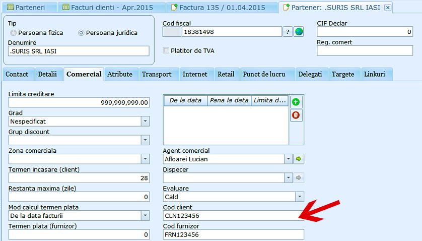 Parteneri cod client cod furnizor