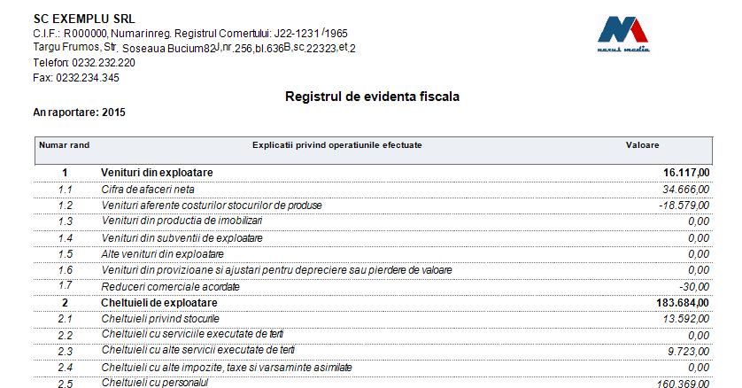 DECLARATIA 101 REGISTRU DE EVIDENTA FISCALA